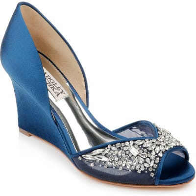 Badgley Mischka Cashmere Crystal Embellished Wedge- Blue