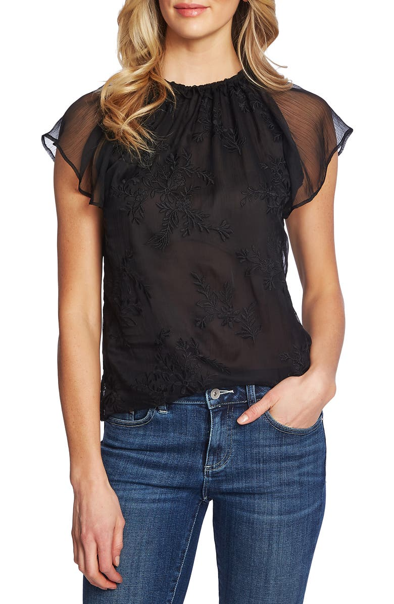 CECE Ruffled Embroidered Top, Main, color, 006