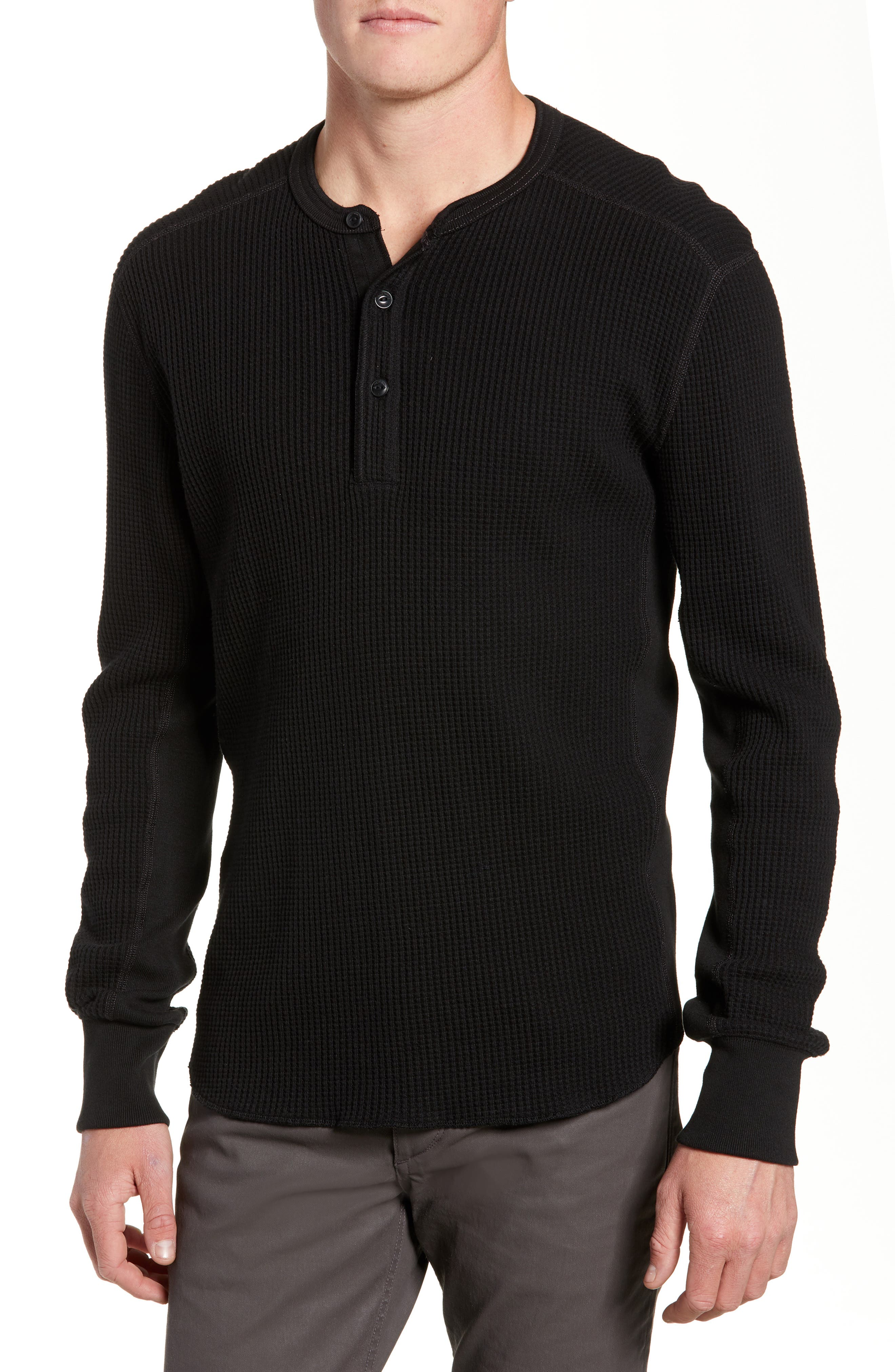 Waffle Knit Long Sleeve Henley, Main, color, BLACK