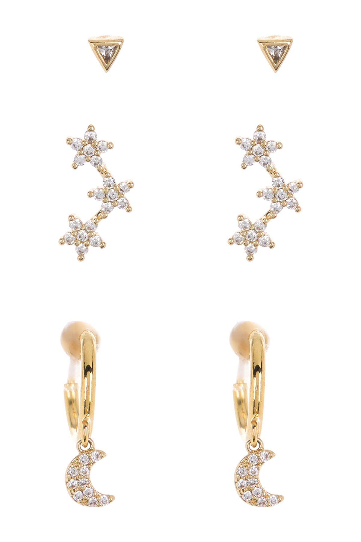 Image of Loren Olivia 14K Yellow Gold Plated Brass Star Moon Stud Earrings - Set of 3