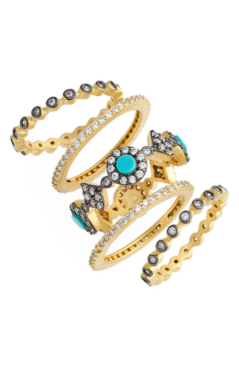 FREIDA ROTHMAN 'Metropolitan' Stackable Rings, Main, color, GOLD/ GUNMETAL/ TURQUOISE