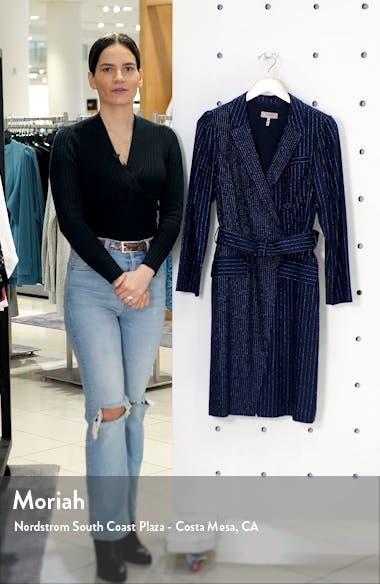 Mixed Pinstripe Long Sleeve Blazer Dress, sales video thumbnail
