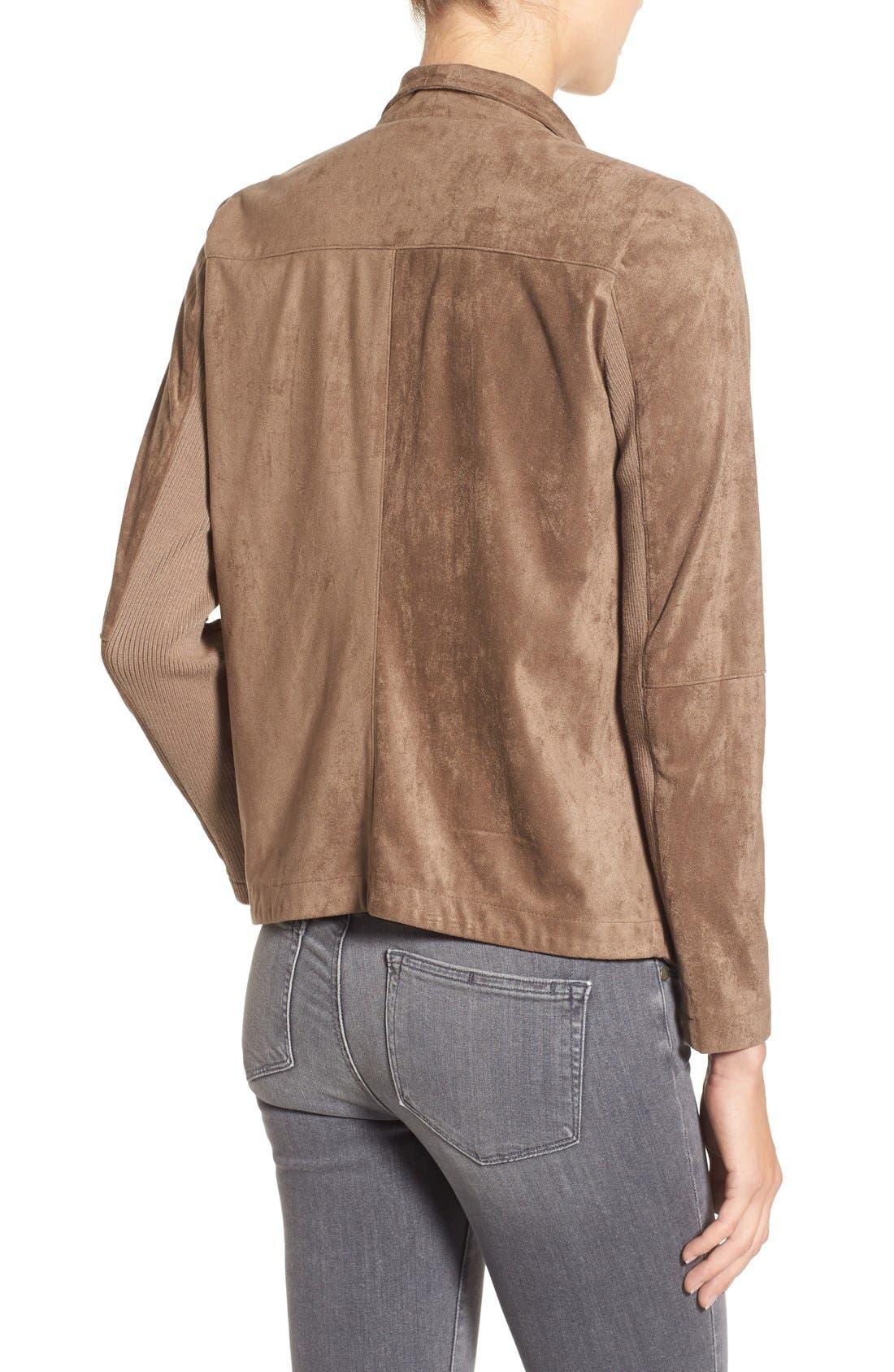 ,                             Nicholson Faux Suede Drape Front Jacket,                             Alternate thumbnail 16, color,                             202