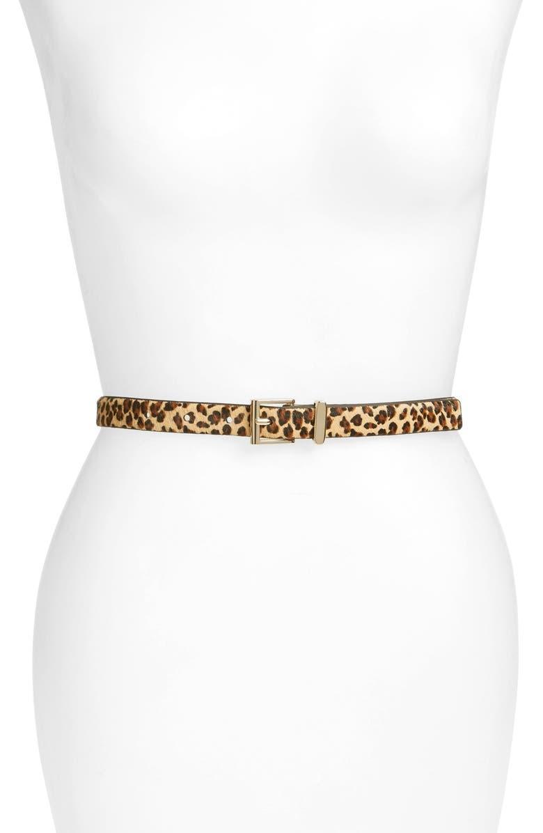 HALOGEN<SUP>®</SUP> Square Keeper Calf Hair Belt, Main, color, LEOPARD