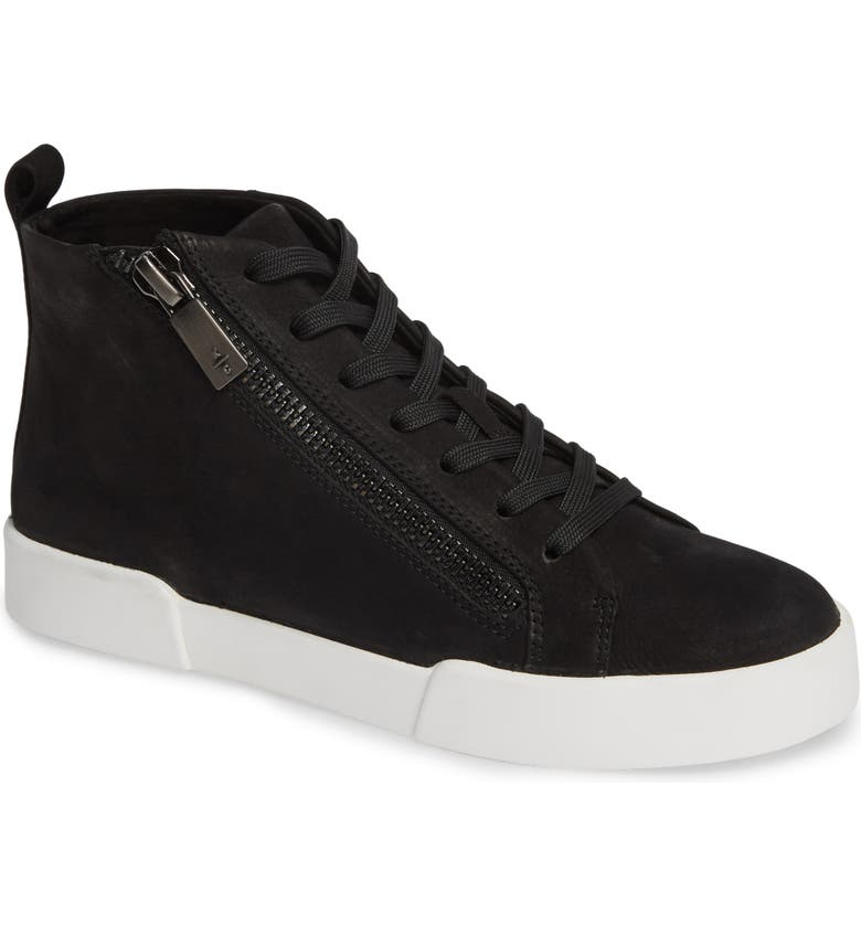 KENNETH COLE NEW YORK Kenneth Cole Tyler Zip Sneaker, Main, color, BLACK NUBUCK LEATHER