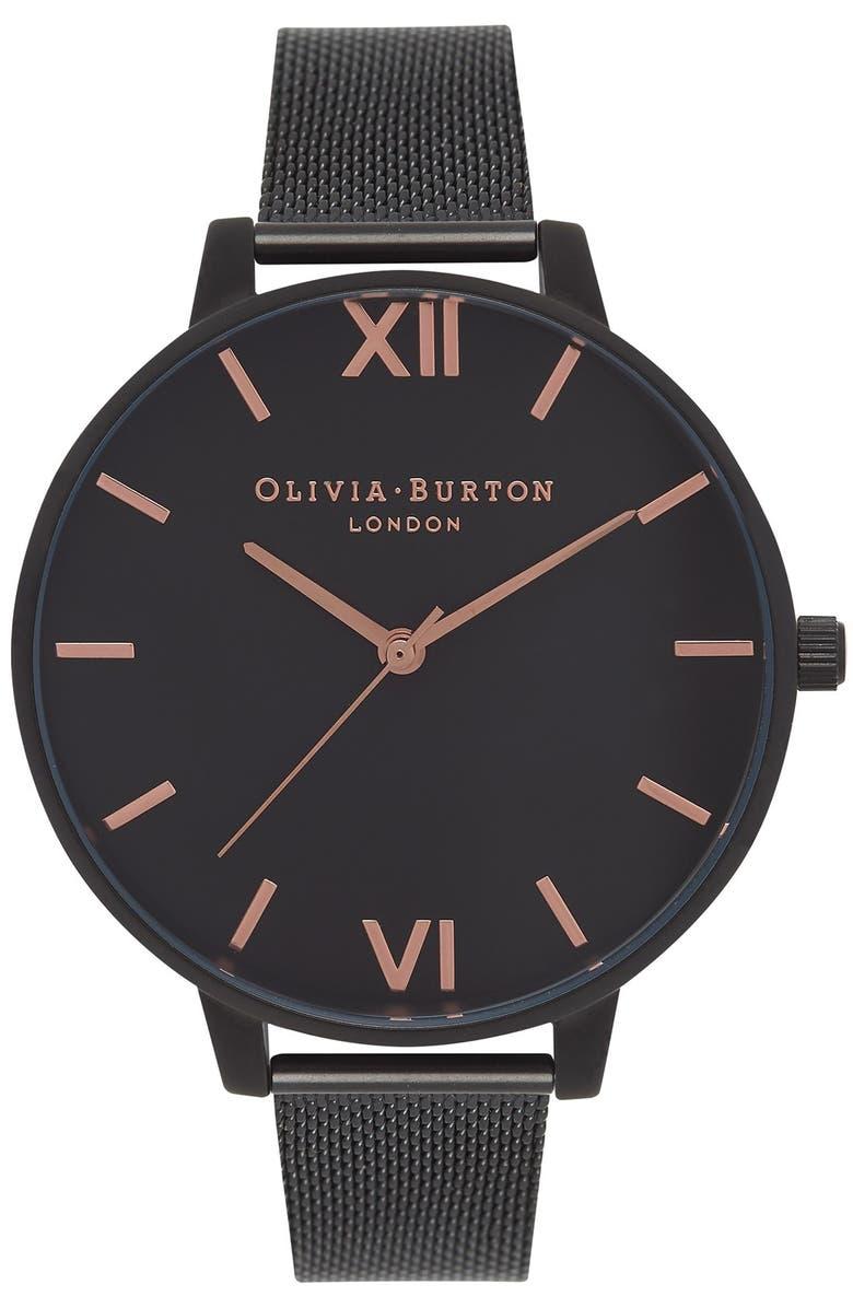 OLIVIA BURTON 'Big Dial' Mesh Strap Watch, 38mm, Main, color, 001