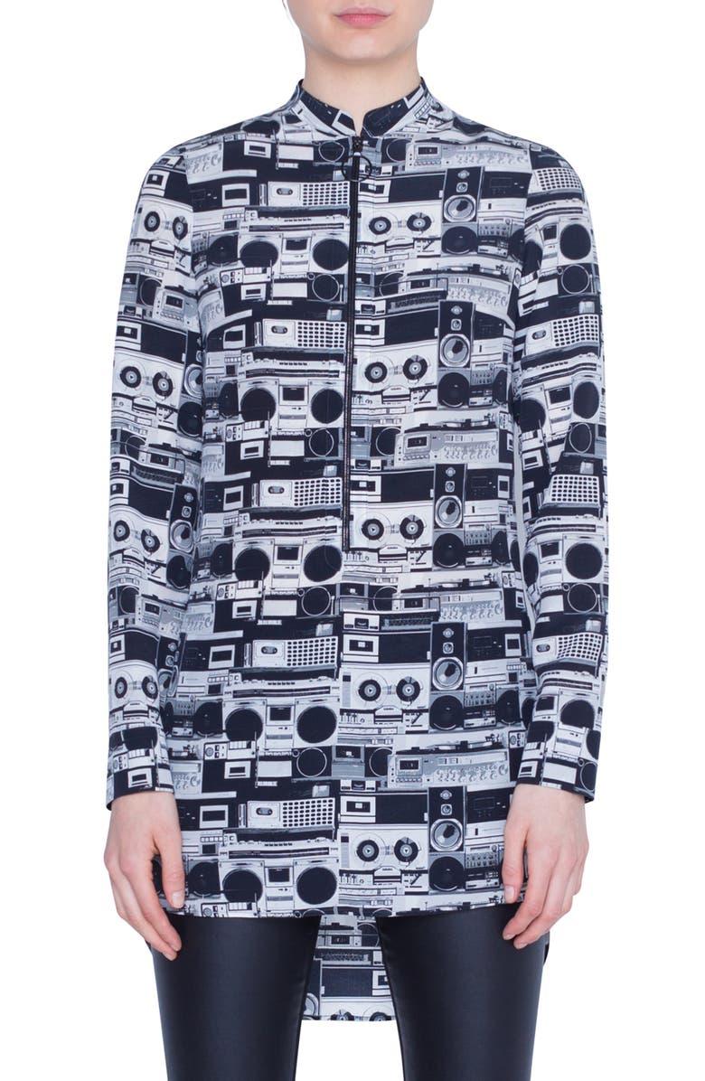 AKRIS PUNTO Stereo Print Silk Blouse, Main, color, BLACK DENIM