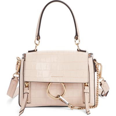Chloe Mini Faye Day Croc Embossed Leather Satchel - Pink