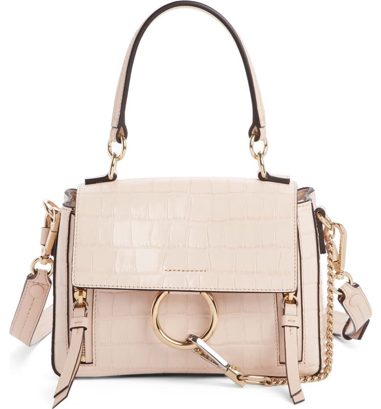 CHLOÉ Mini Faye Day Croc Embossed Leather Satchel, Main, color, 680