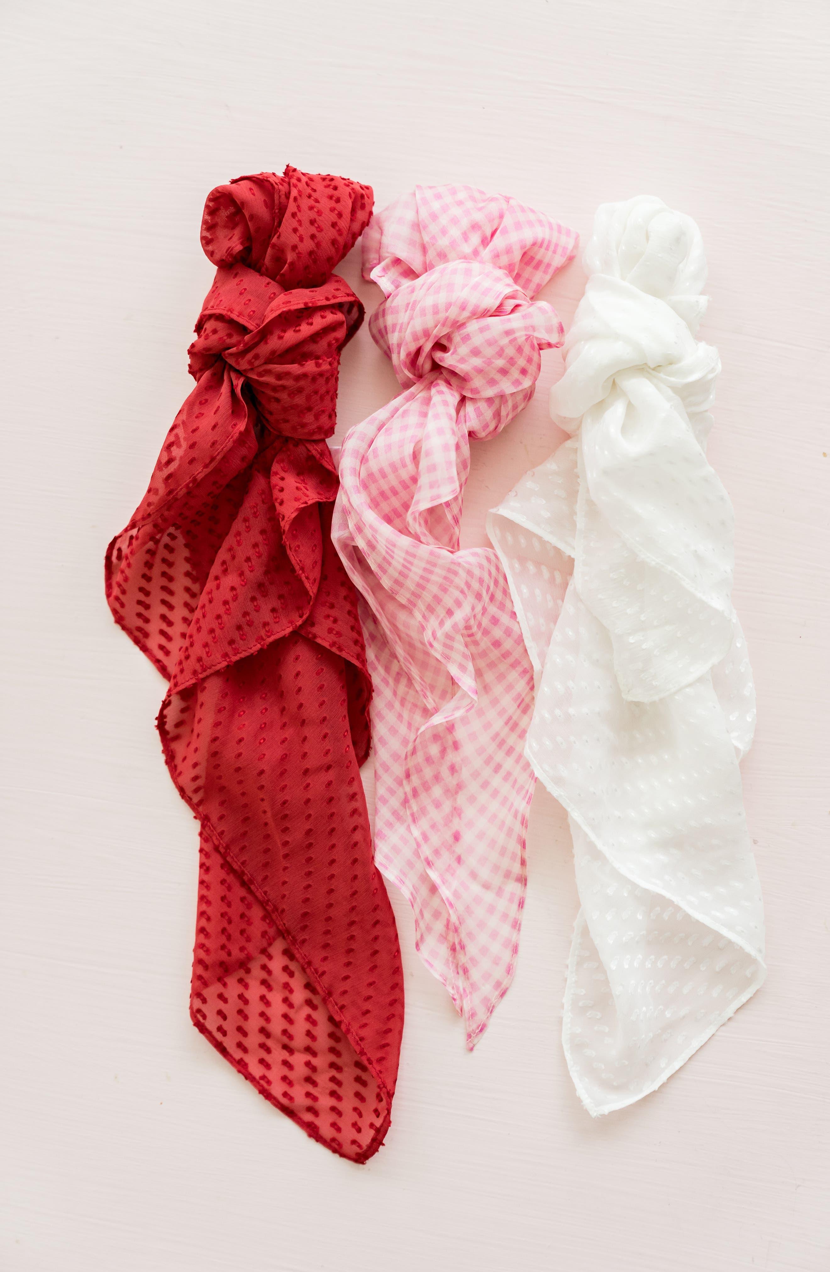 ,                             Swiss Dot Square Silk Blend Scarf,                             Alternate thumbnail 5, color,                             WHITE