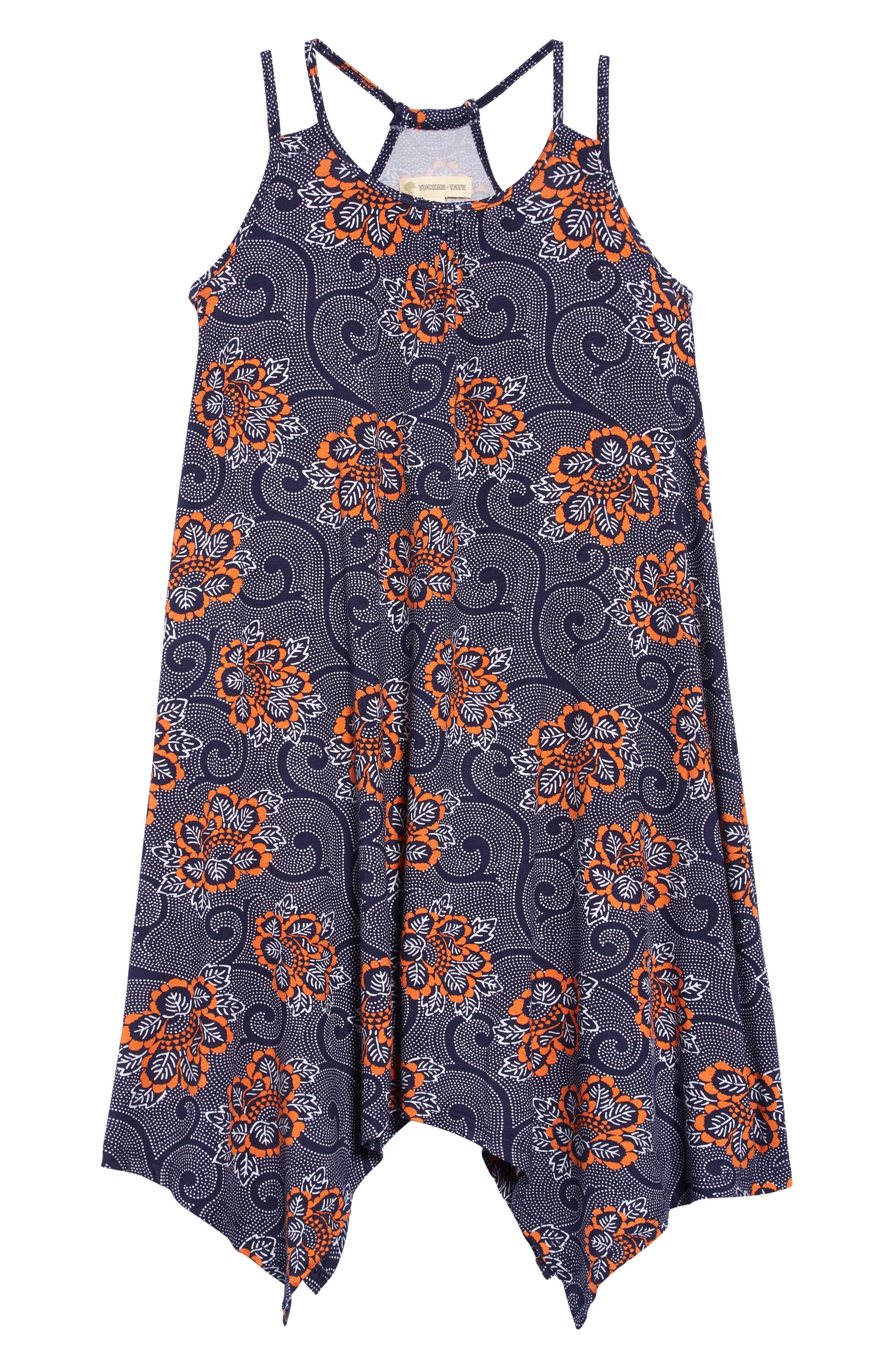Print Handkerchief Hem Dress, Main, color, NAVY PEACOAT PIAZZA FLORAL
