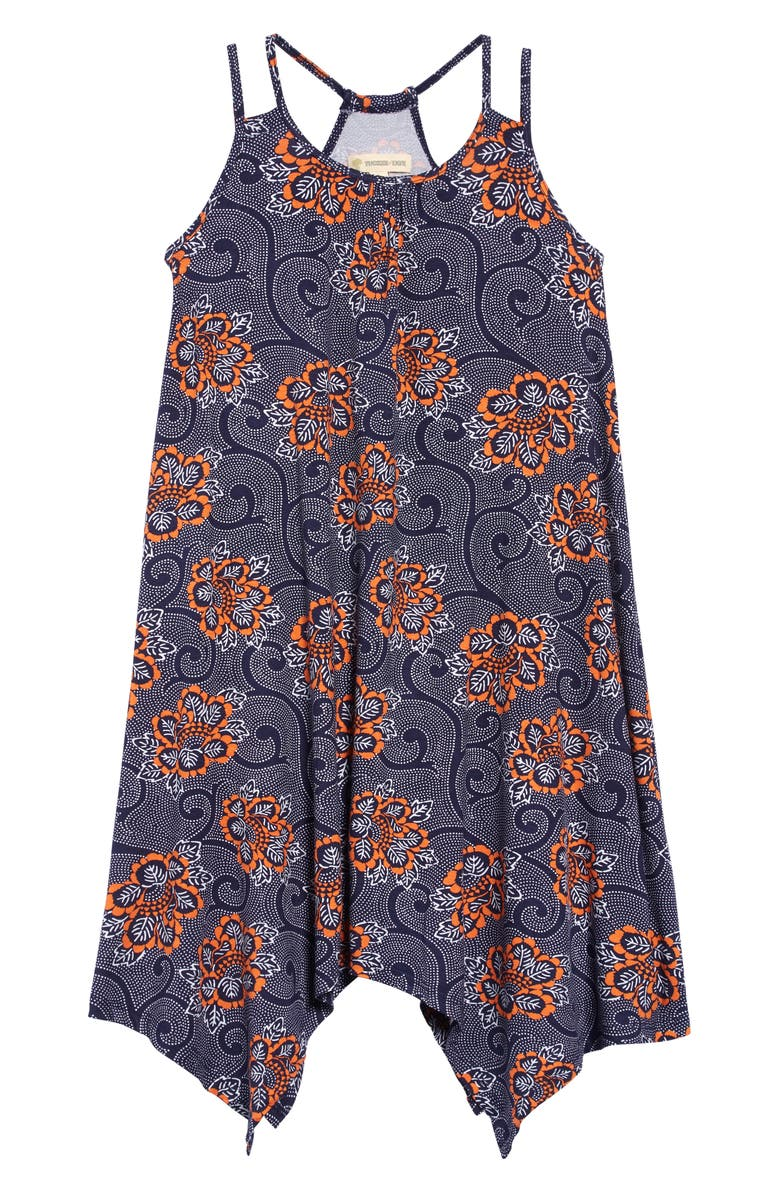 TUCKER + TATE Print Handkerchief Hem Dress, Main, color, 410