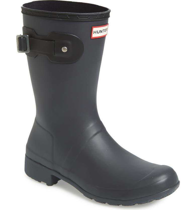 HUNTER Original Tour Short Packable Rain Boot, Main, color, LUNA/ BLACK
