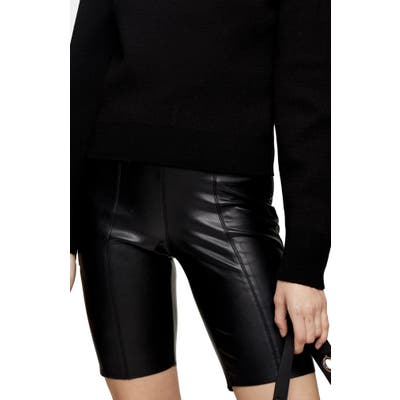 Topshop Faux Leather Bike Shorts, US - Black