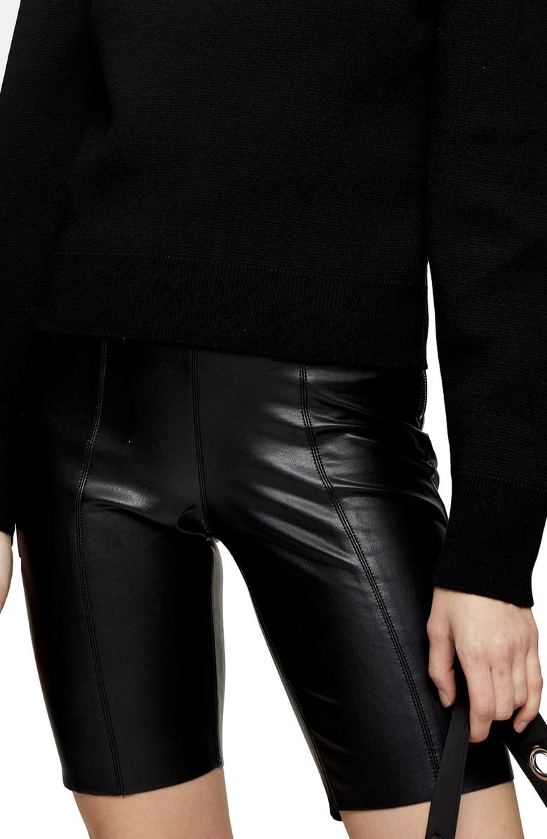 TOPSHOP Faux Leather Bike Shorts, Main, color, BLACK