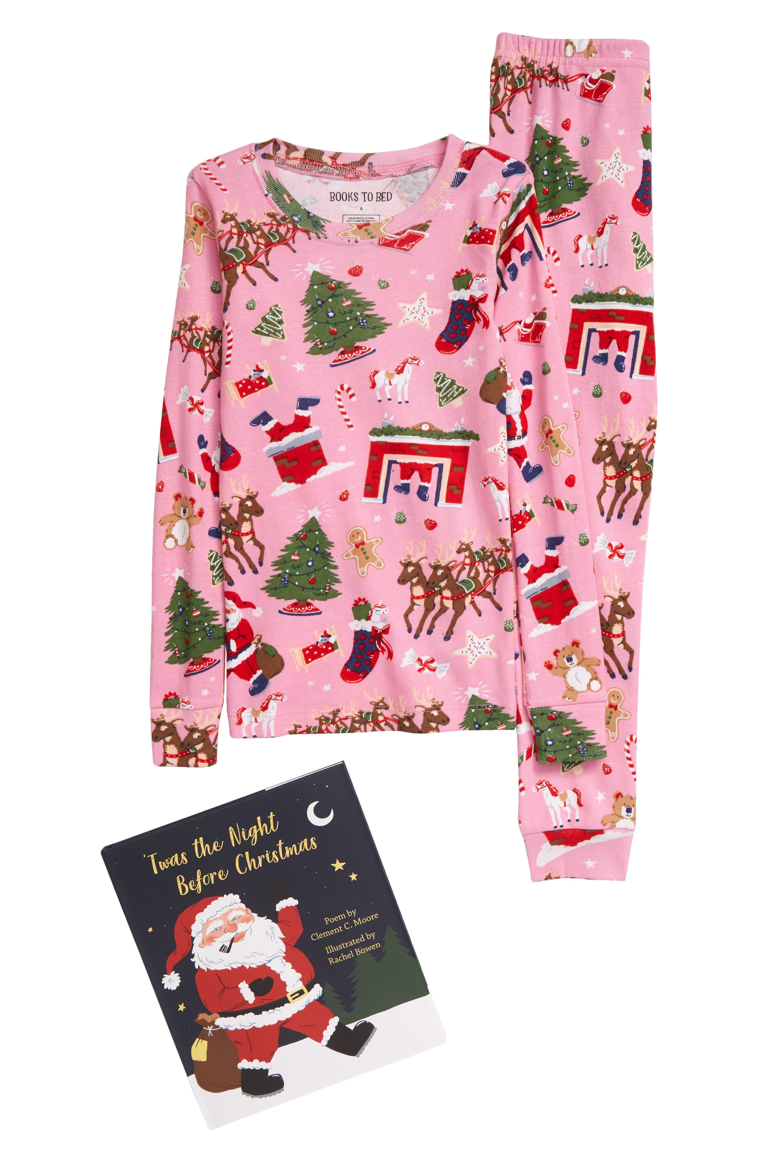 Toddler Girl's Hatley Christmas Organic Cotton Fitted Two-Piece Pajamas & Book Gift Set, Size 2T - Pink