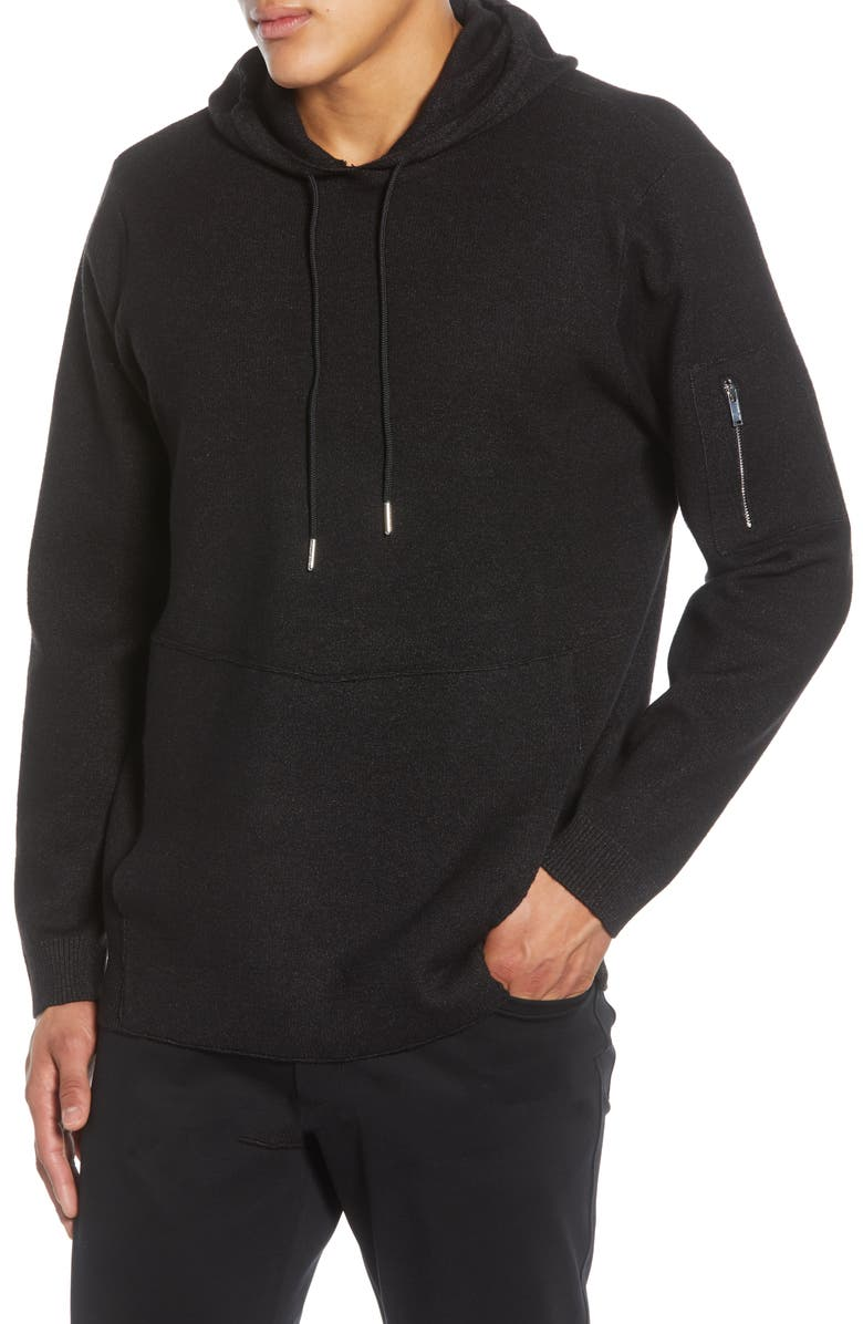 KARL LAGERFELD PARIS Regular Fit Hooded Sweatshirt, Main, color, BLACK