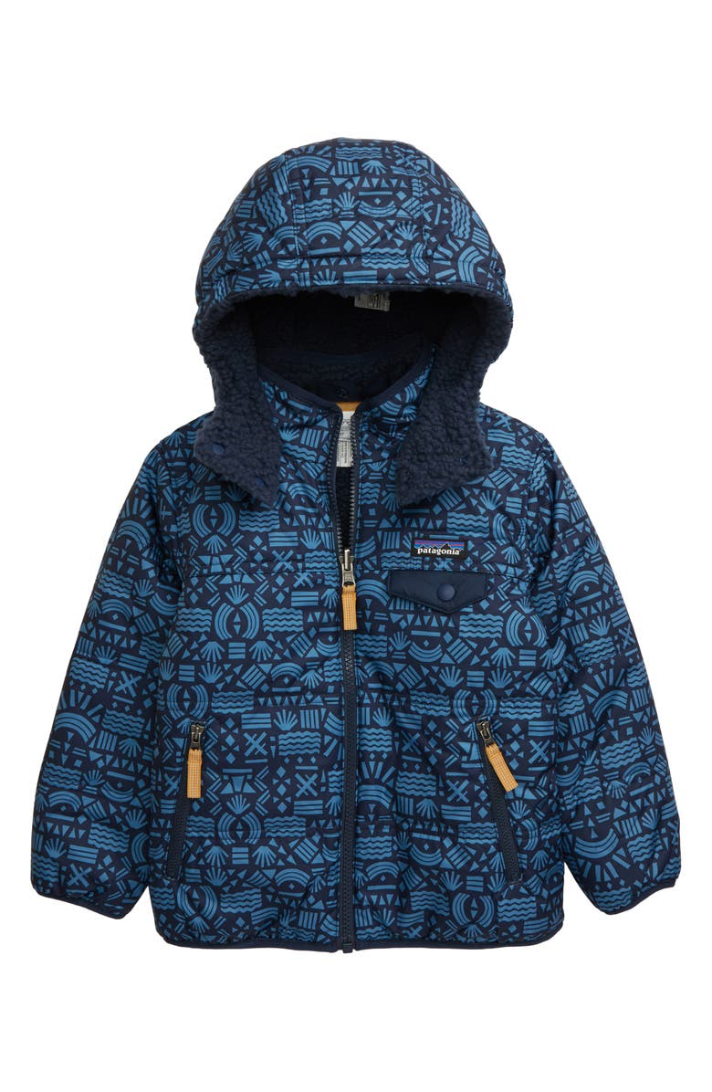 PATAGONIA 'Tribbles' Reversible Water Resistant Snow Jacket (Toddler Boys & Little Boys), Main, color, DESERT BLOCK GEO/ NEW NAVY