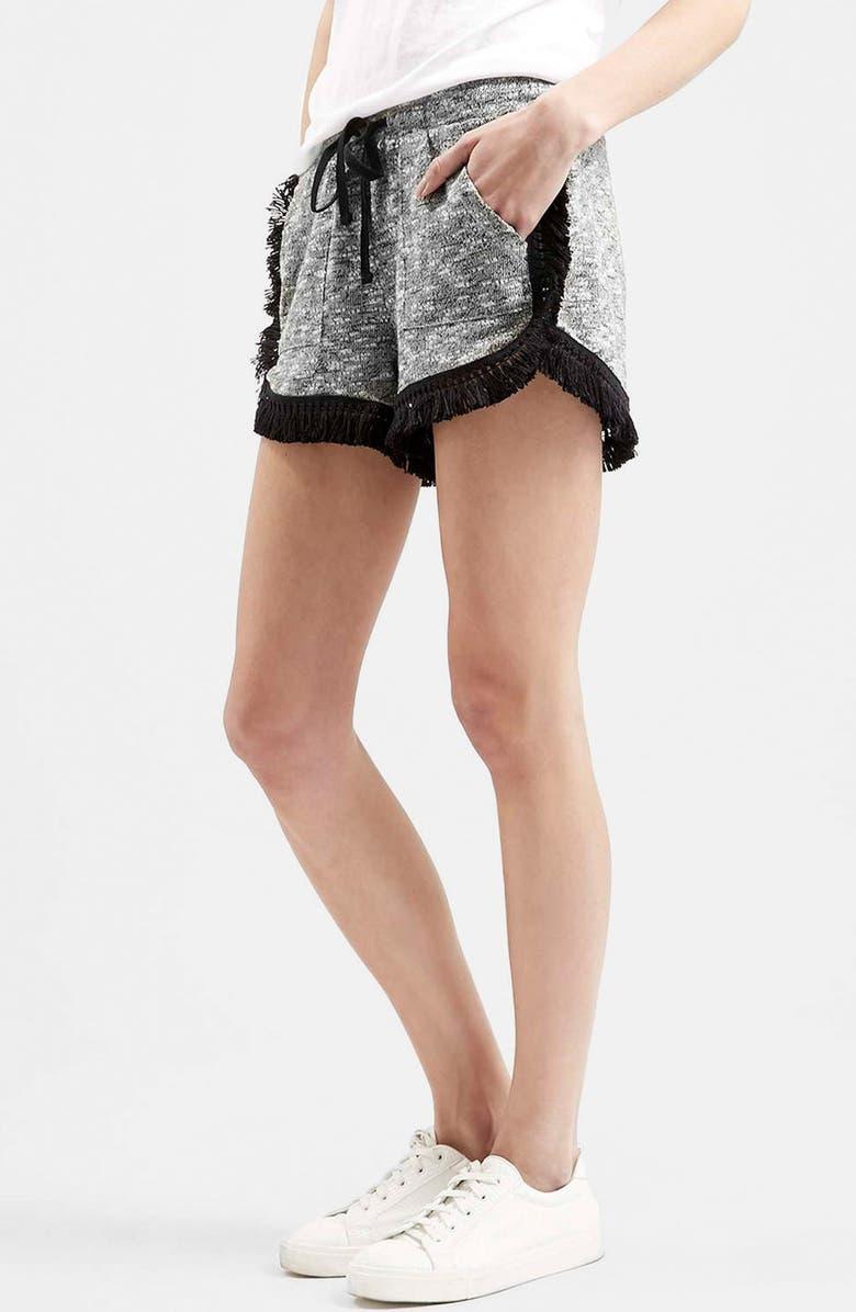TOPSHOP Fringe Drawstring Shorts, Main, color, 050