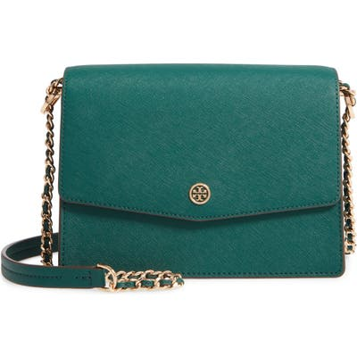 Tory Burch Robinson Convertible Coated Saffiano Leather Shoulder Bag - Green