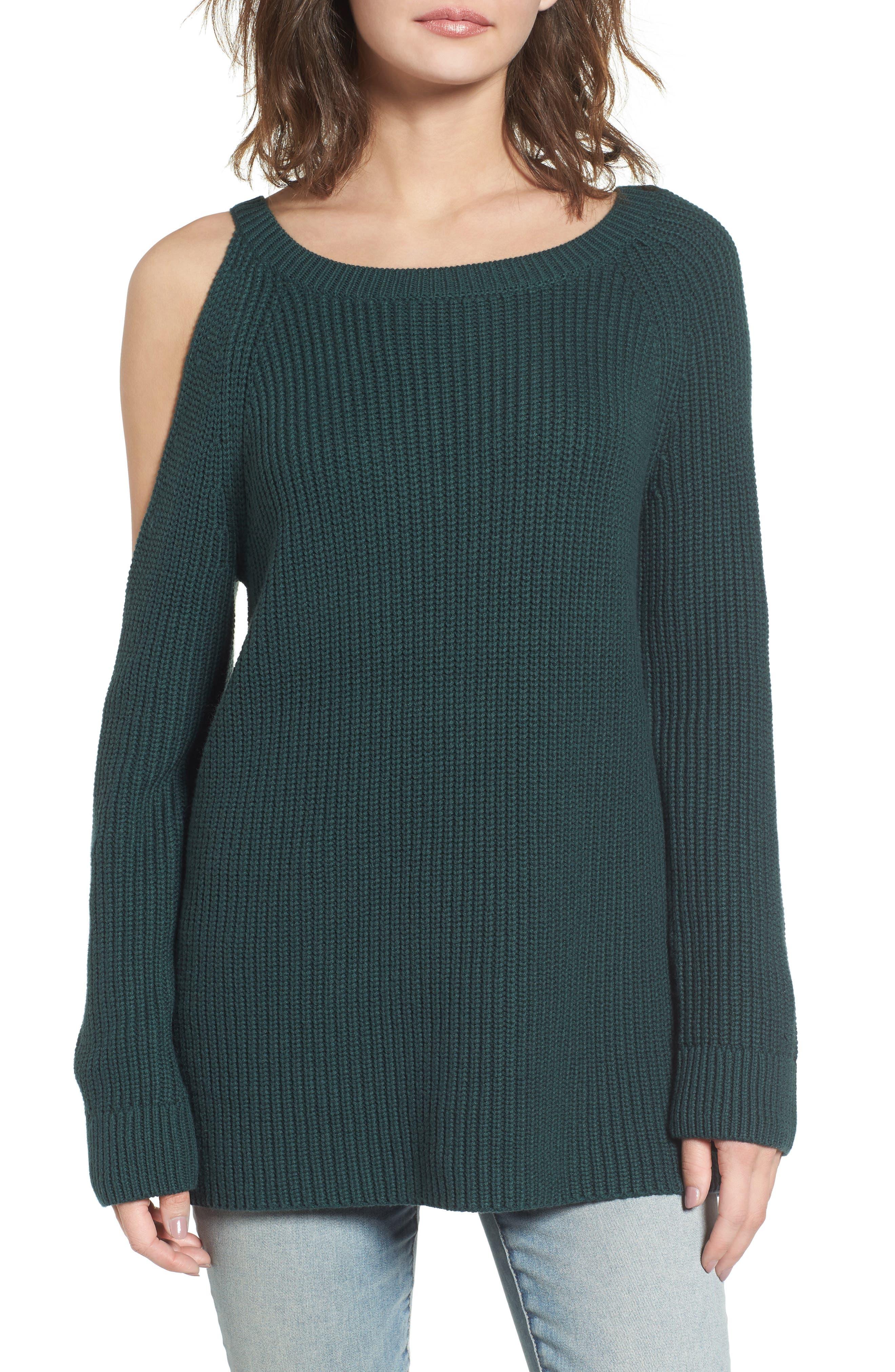 ,                             Asymmetrical Cold Shoulder Sweater,                             Main thumbnail 7, color,                             300