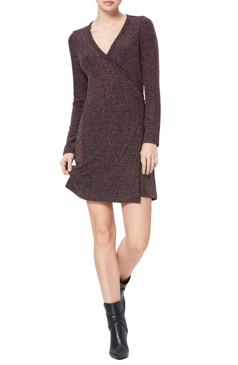 PAIGE Lucielle Long Sleeve Wrap Dress, Main, color, METALLIC MULTI