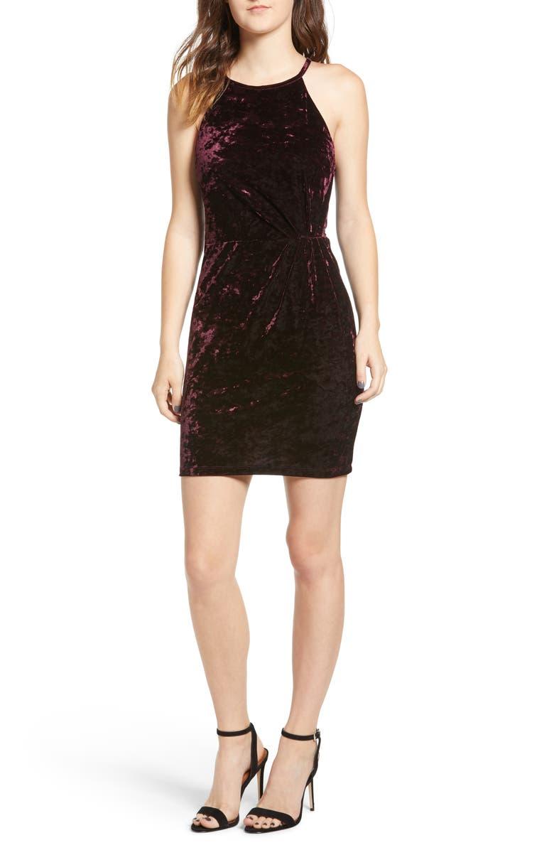 SPEECHLESS Velvet Body-Con Dress, Main, color, MAROON