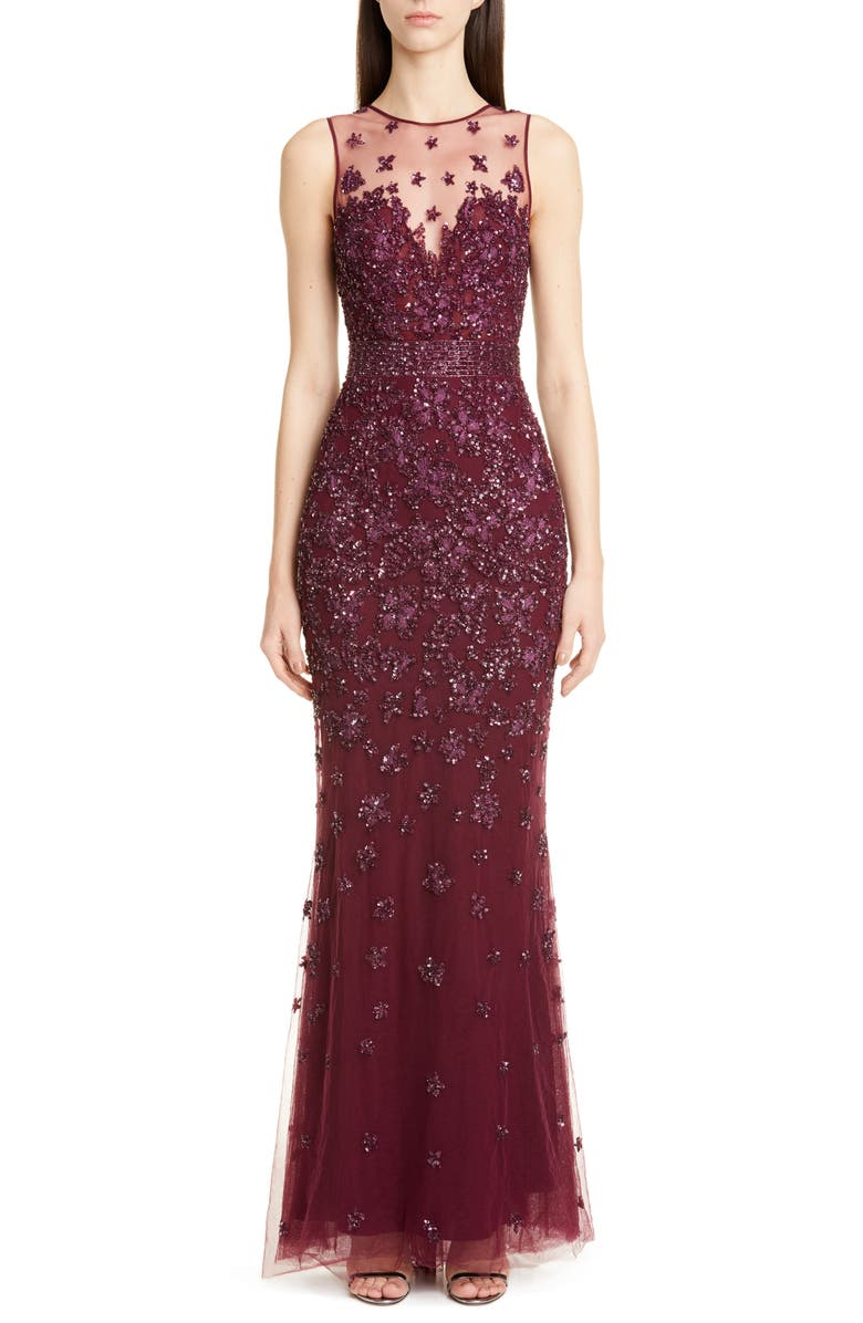 ZUHAIR MURAD Hibiscus Beaded Tulle Trumpet Gown, Main, color, AMARANTH