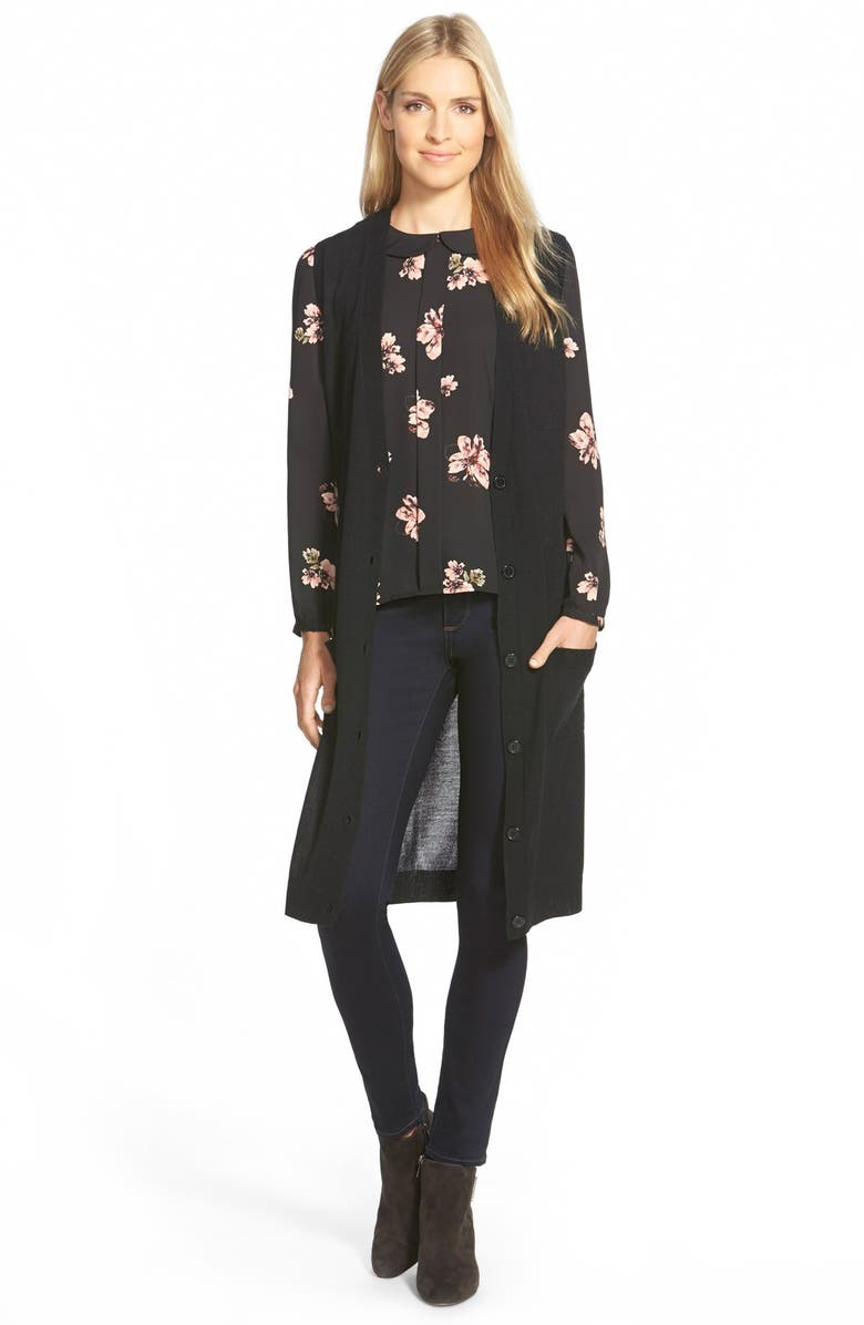 HALOGEN<SUP>®</SUP> Merino Blend Long Sweater Vest, Main, color, 001