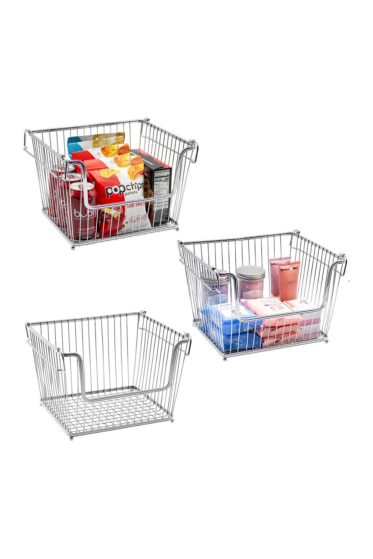 Image of Sorbus Stackable Metal Storage Organizer Bin Basket - Set of 3 - Silver