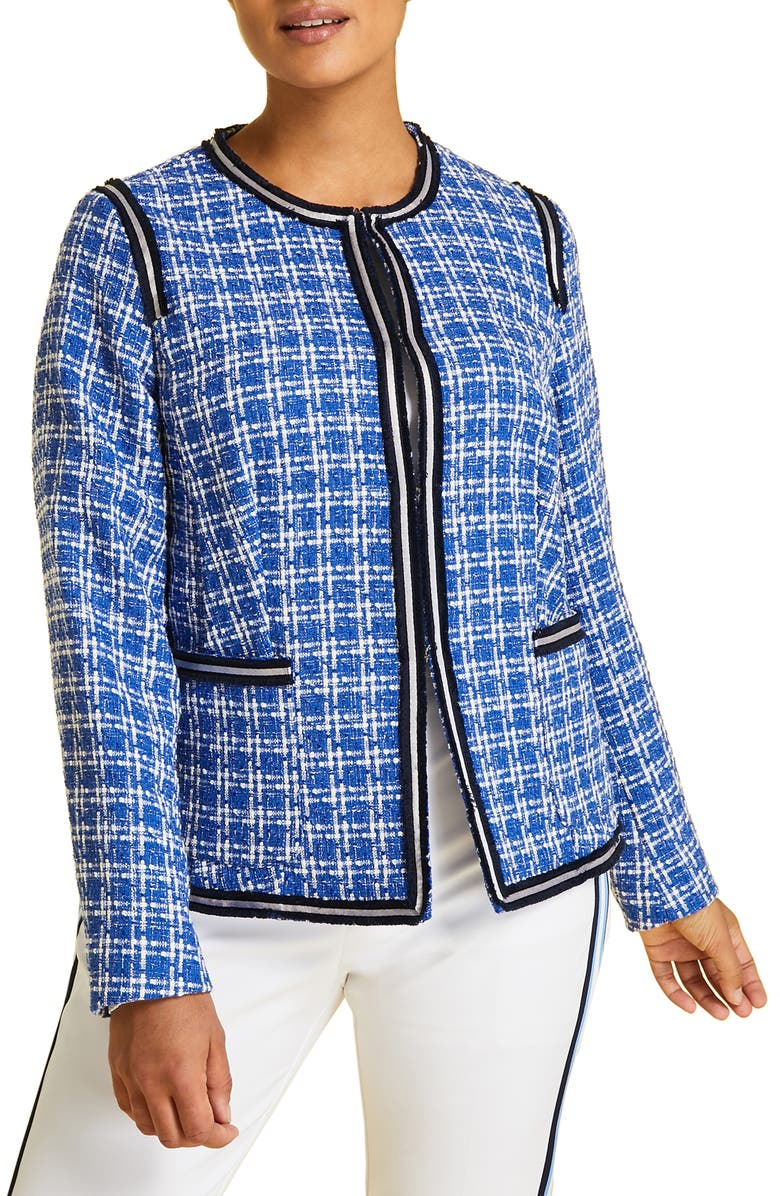MARINA RINALDI Calamaio Tweed Jacket, Main, color, 424