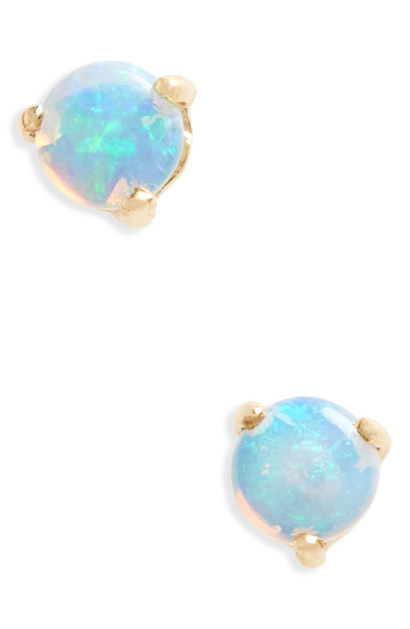 Small Opal Stud Earrings, Main, color, YELLOW GOLD
