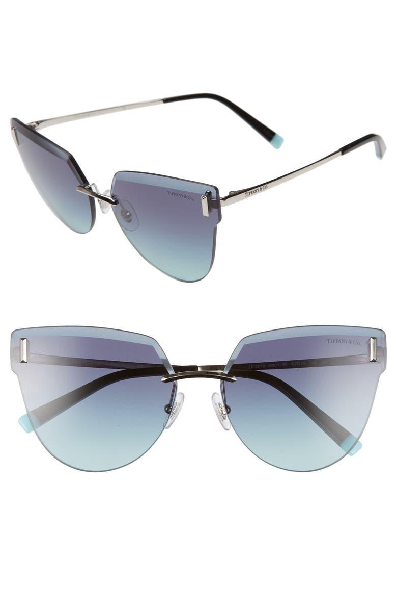 TIFFANY & CO. 62mm Oversize Rimless Sunglasses, Main, color, SILVER/ AZURE GRADIENT BLUE