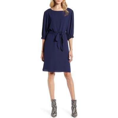 Halogen Tie Waist Dress, Blue
