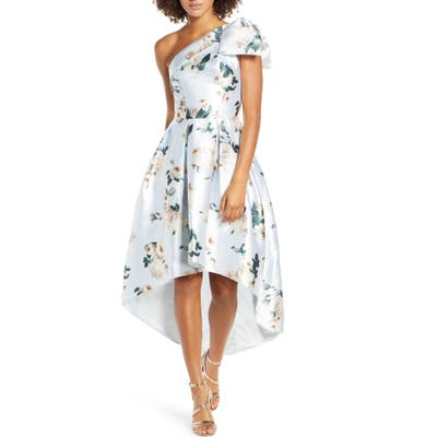 Chi Chi London Eliot Floral One-Shoulder High/low Satin Twill Cocktail Dress, Blue