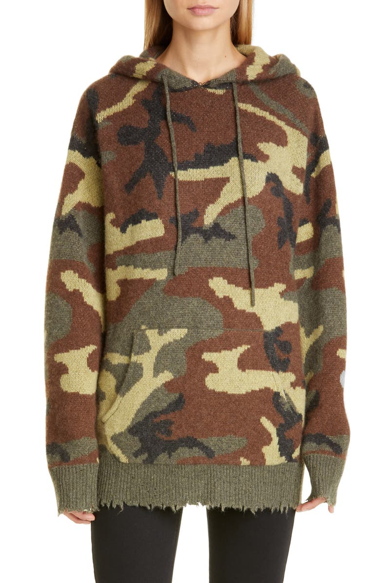 R13 Camo Cashmere Hoodie Sweater, Main, color, CAMO