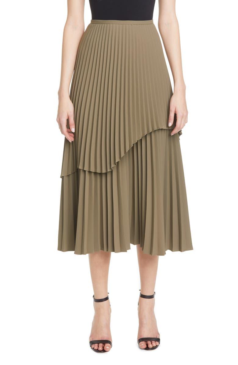 BEAUFILLE Pleated Double Layer Midi Skirt, Main, color, KHAKI GREEN