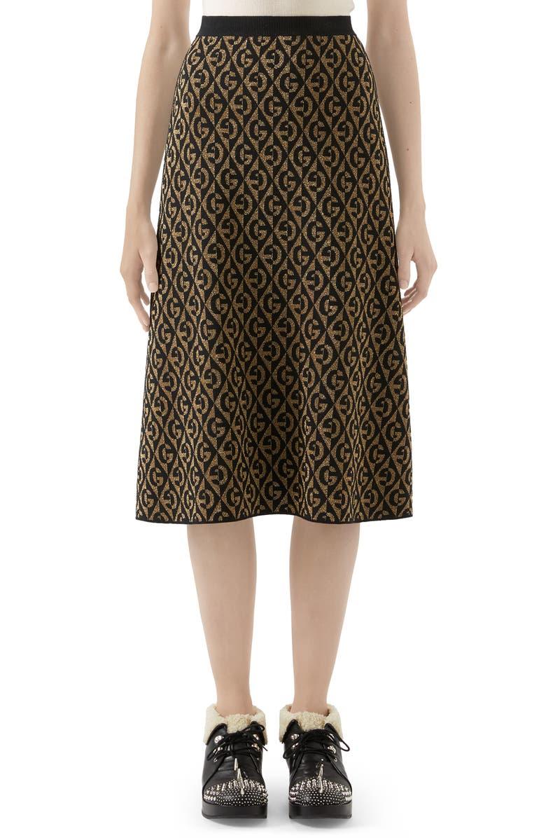 GUCCI GG Rhombus Jacquard Wool Sweater Skirt, Main, color, GOLD/ BLACK