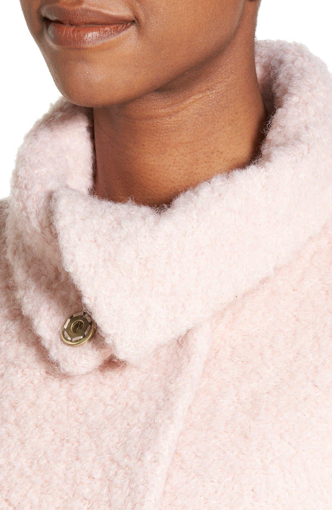 ,                             Zip Vent Funnel Collar Bouclé Coat,                             Alternate thumbnail 5, color,                             684
