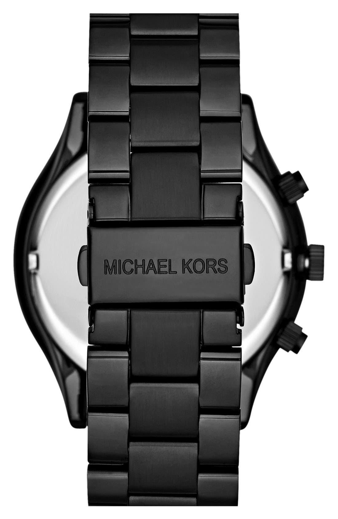 ,                             Michael Kors 'Slim Runway' Chronograph Bracelet Watch, 42mm,                             Alternate thumbnail 3, color,                             001