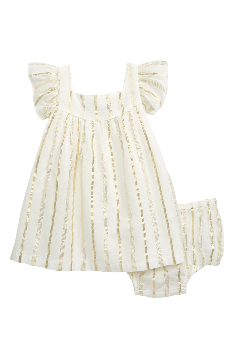 TUCKER + TATE Sparkle Stripe Dress, Main, color, IVORY EGRET- GOLD STRIPE