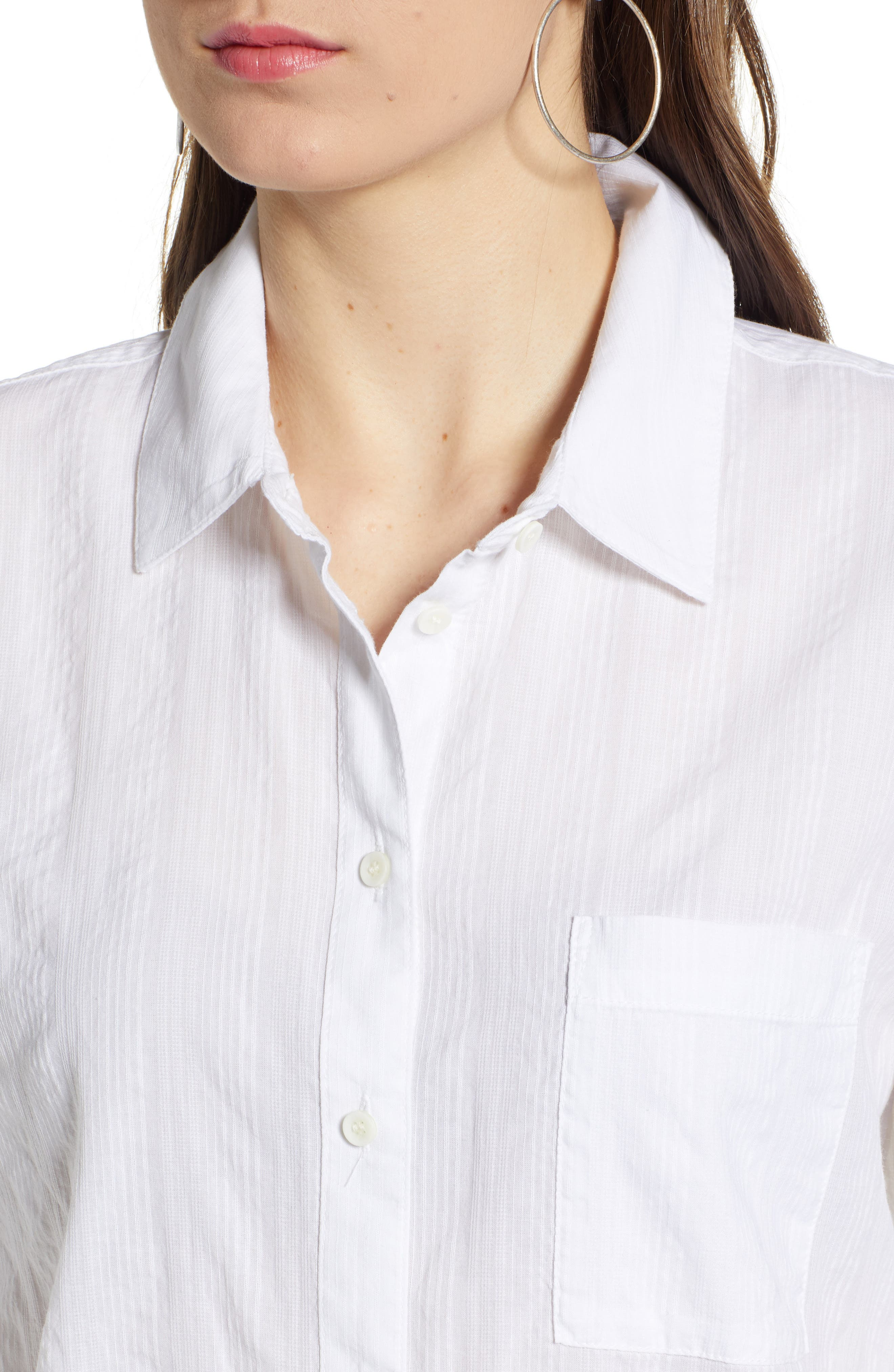 ,                             Stripe Shirt,                             Alternate thumbnail 4, color,                             WHITE SHALLIS STRIPE