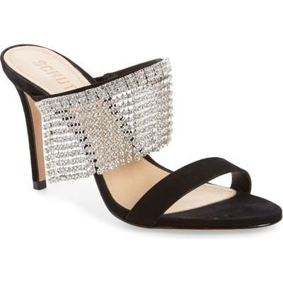 Schutz Sania Crystal Fringe Slide Sandal, Black