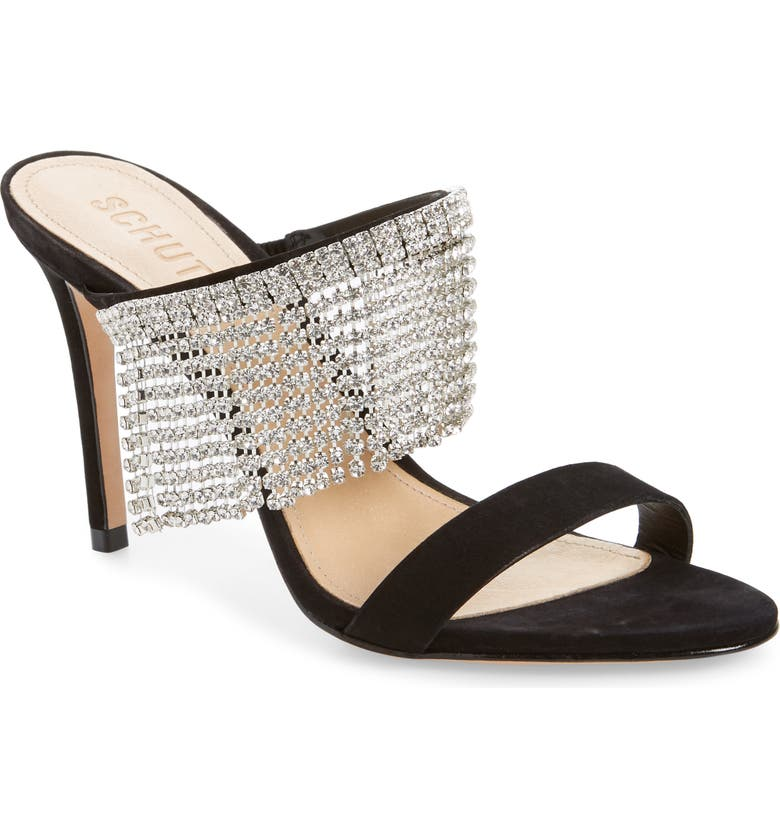 SCHUTZ Sania Crystal Fringe Sllide Sandal, Main, color, BLACK