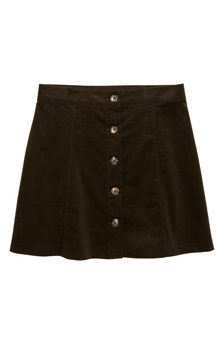 WALKING ON SUNSHINE Corduroy Skirt, Main, color, OLIVE