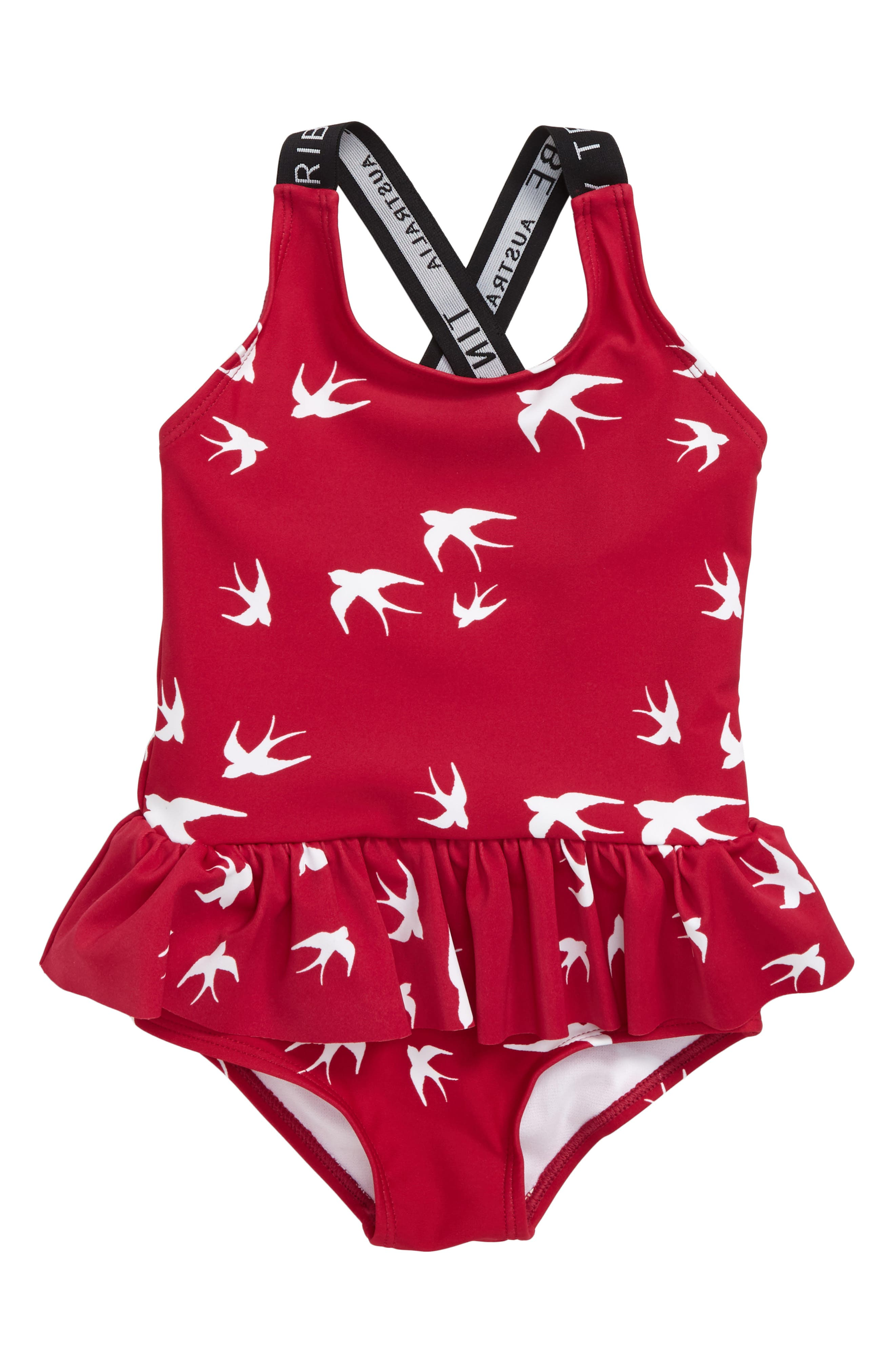 32cf056bab0 Girl's Tiny Tribe Swallows Frill One-Piece Swimsuit, US / 5 AUS - Pink