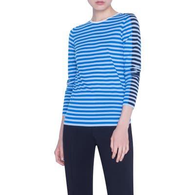 Akris Punto Multicolor Stripe Merino Wool Sweater, Blue