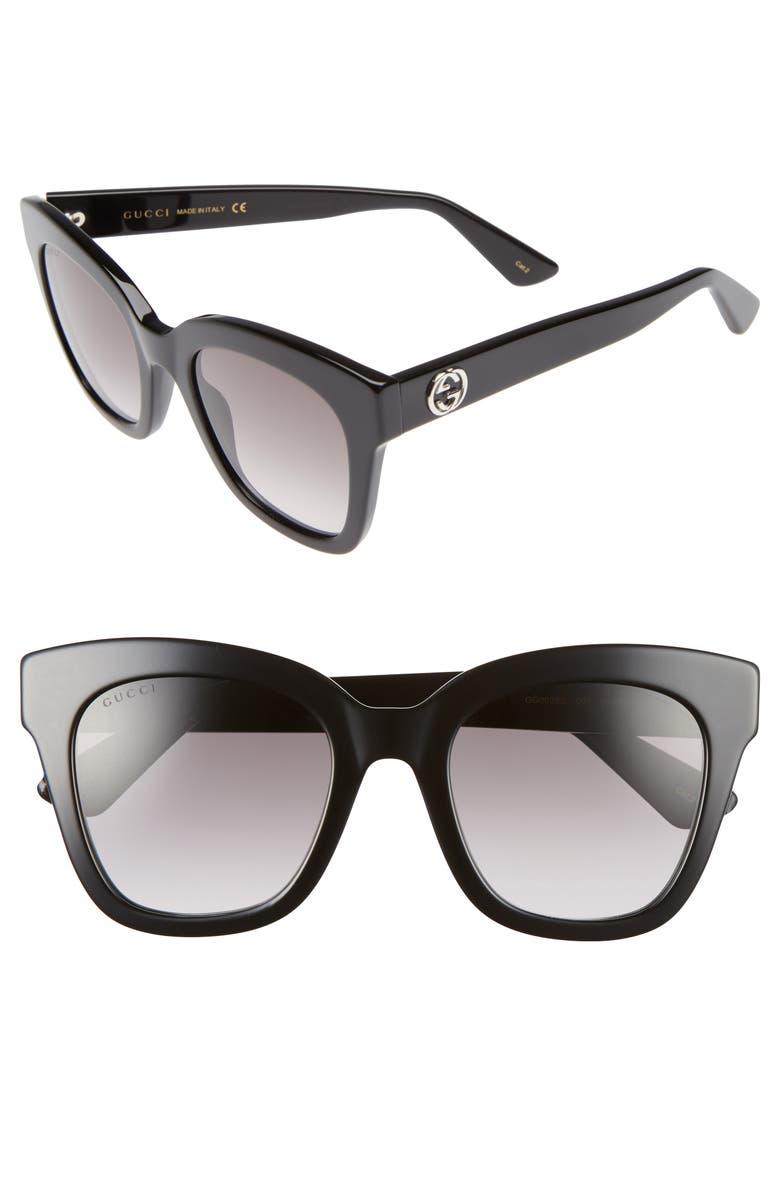 GUCCI 50mm Cat Eye Sunglasses, Main, color, 001