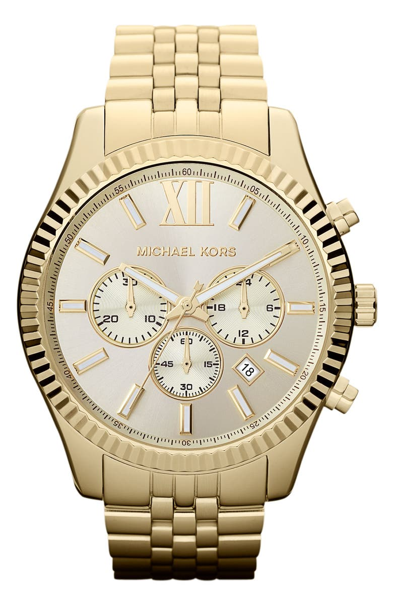 MICHAEL KORS 'Large Lexington' Chronograph Bracelet Watch, 45mm, Main, color, 710