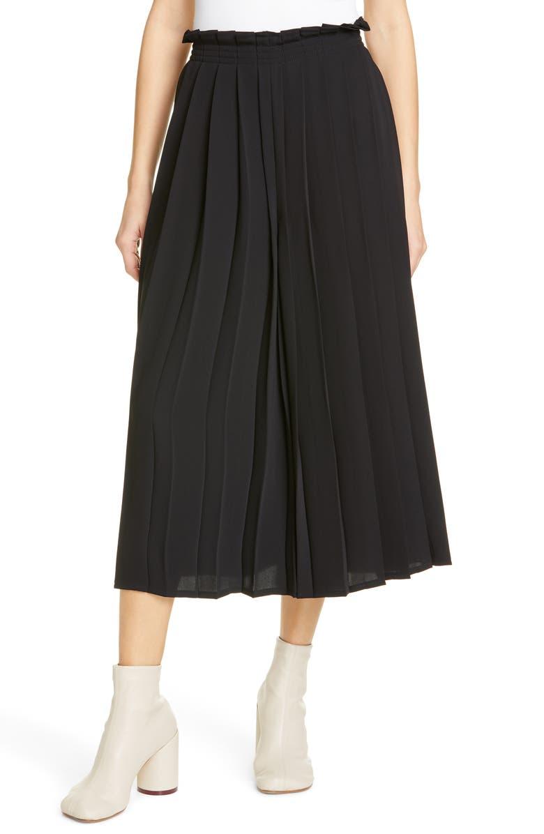 MM6 MAISON MARGIELA Pleated Culotte Pants, Main, color, BLACK